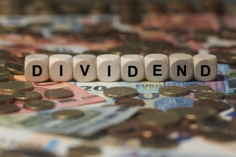 dividend - cube with letters, money sector terms - sign with wooden cubes